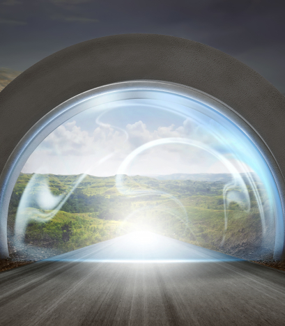 Virtual door on gateway arch to entrance mountains landscape. New life or beginning concept